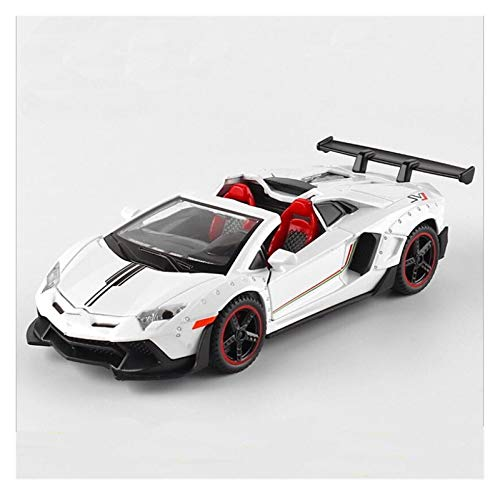 Diecast Vehicle Car Model 1: 32 for Aventador SVJ for Lamborghini LP700 for Convertible Alloy Sports Car Sound Light Pull Back Toy Car Gifts for Kids Boys Girls Gift (Color : White)