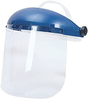 Sellstrom Single Crown Safety Face Shield with Pin Lock Headgear, Clear Tint, Uncoated, Blue, S39010