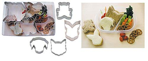 Lot de 4 amis animaux pour enfant Sandwich Cutter Ensemble de formes amusantes 6.1 cm – 8.5 cm (6,1 cm – 8,4 cm)