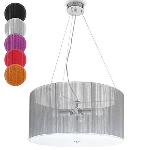 Retro Hängeleuchte - EEK: A++ bis E, LED, Ø 50cm, E27, Schirm aus Stoff, Farbwahl - Vintage Pendelleuchte, Deckenleuchte, Pendellampe, Deckenlampe für Wohnzimmer, Esszimmer, Schlafzimmer (Silber)
