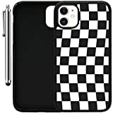 Custom Case Compatible with iPhone 11 (6.1') (Checkered Flag Finish Line) Edge-to-Edge Rubber Black Cover Ultra Slim | Lightweight | Includes Stylus Pen by Innosub