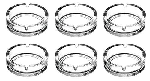 Aschenbecher Glasaschenbecher Ascher Glas runde Ausführung Ø 10,5 cm 6 Stück Set