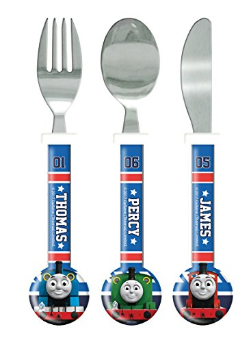 Thomas the Tank Engine Cutlery Set, 3 piece, Knife/Fork/Spoon, Blue Multi-Colour