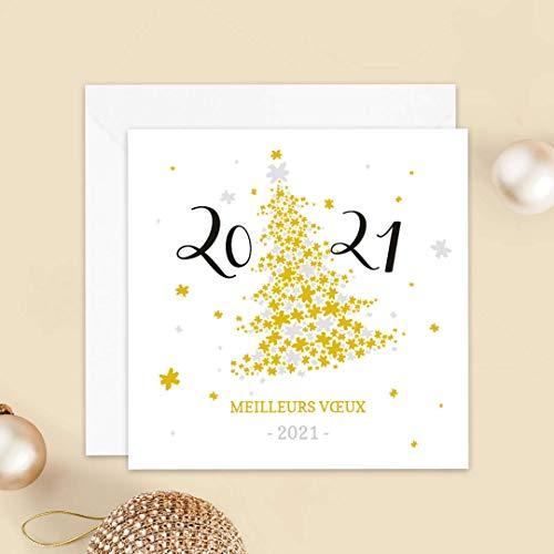 Carte de voeux 2021 • Sapin • Lot de 16 Cartes • Papier haut de gamme • 16 Enveloppes Blanches Autocollantes • 14x14 cm Pliée • Idéal pour souhaiter la Bonne Année et le Nouvel An • Popcarte
