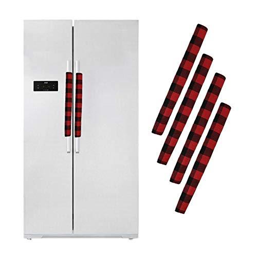 Juego de 4 fundas para tirador de frigorífico, diseño navideño, color rojo y negro