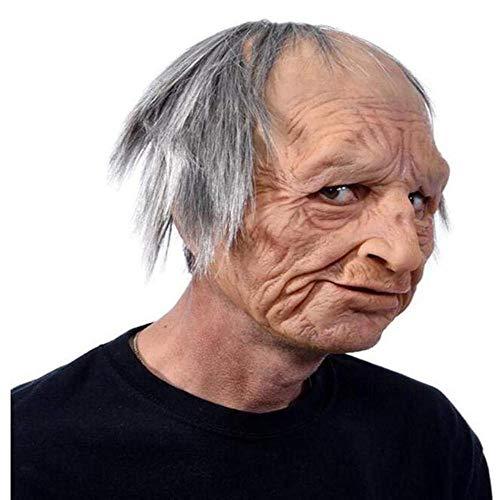 HUA JIE Máscara Realista de Anciano, máscara Arrugada, máscara de látex con Cabeza Completa para Disfraces de decoración Realista de Fiesta de Halloween de Mascarada