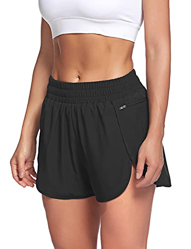 LaLaLa Womens Quick-Dry Athletic Shorts Sports Layer Elastic Waist Running Workout Shorts with Zip Pocket (M, Black)