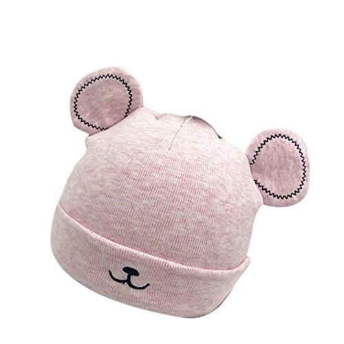FeiliandaJJ 0~12 Monate Baby Mütze Neugeborene Herbst Winter 100% Super Weich Baumwolle Katzenohren Jungen Mädchen Warme Babymützen (Rosa)