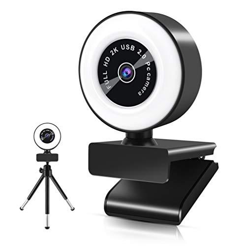 Webcam con micrófono, cámara Web HD 2K con Anillo de luz y