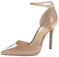 Two-piece dress pump featuring pointed toe and adjustable ankle strap with metallic oval buckle Memory midsole