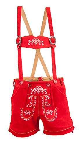 Almwerk Damen Trachten Lederhose kurz Modell Heidi, Größe Damen:XS - Größe 34;Farbe:Rot