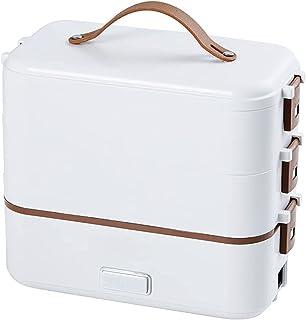 QIXIAOCYB Automatisch koken rijstdoos, reizen mini rijstkoker, 2-layer steamer lunchbox, geschikt voor thuis kantoor schoo...