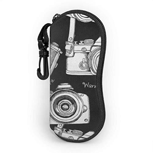Funda de Gafas Fotografía de cámaras en blanco y negro antiguo Ultra Ligero Neopreno Suaves viaje Estuche para Gafas de caso Bolsa con Clip de Cinturón