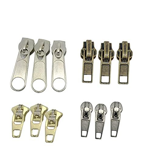 Leluo LRrui-Chiusura Lampo Unica 44 Pezzi Universal Instant Fix Zipper, per Jeans Gonne Slacks Borse, Riparazione Kit Zip Sliders, Accessori da Cucito