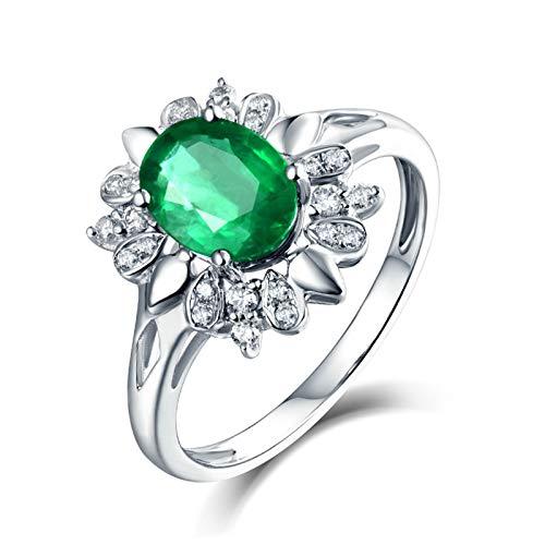 Beydodo Anillos Boda Mujer,Anillos de Compromiso Mujer Oro Blanco 18 Plata Verde Flor Oval Esmeralda Verde 1.14ct Diamante 0.17ct Talla 15(Circuferencia 54MM)