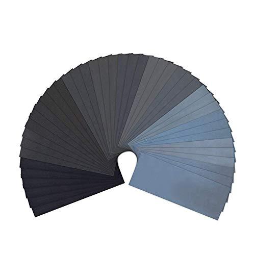 Papel de lija 120 a 5000 Papel de lija de arena surtido para el acabado de muebles de madera, lijado de metal y pulido automotriz, arena seca o húmeda para automoción y carpintería ( Color : Black )