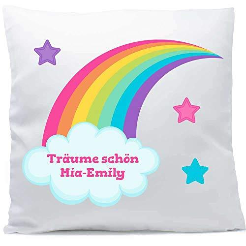 Kissen mit Namen Geburt Regenbogen 40x40 cm inkl. Füllung Kuschelkissen, Kissen Farbe:Vorderseite weiß/RS blau