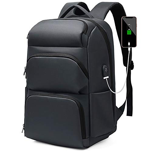 Laptop Backpack 36-55L Waterproof Business Travel Bags,with USB Charging Ports, Lightweight And Durable Anti-Theft Casual Day Packs for Men And Women,Gray