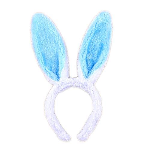 MerroyalMerroyal - Diademas con orejas de conejo de peluche para mujeres y niñas, Azul,