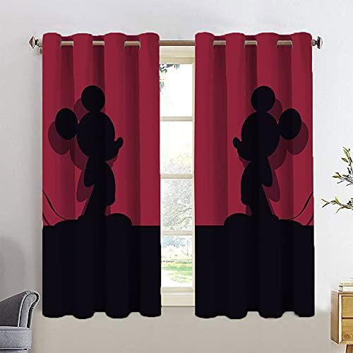 Paneles de cortina de Mickey y Minnie personalizados, con impresión 3D, con aislamiento térmico, para cocina/dormitorio, 52 x 63 cm