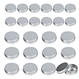 LANMOK 24 Pcs Aluminum Tin Jars (1oz 30ml + 2oz 60ml) Cosmetic Containers Round Tin Cans with Screw Cap Lid for DIY Crafts,Cosmetics,Salve,Candle,Travel Storage