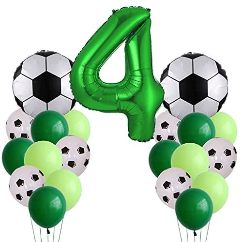 Globos de fútbol para cumpleaños de niños de 4 años, globos de fútbol grandes, decoración de cumpleaños, globos con número 4, globos verdes para fiestas temáticas de fútbol