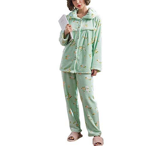 Pyjamas d'allaitement Maternel, Automne et Hiver Femmes Enceintes épais Corail Toison Post-Partum Alimentation vêtements Maison vêtements 2 pièce Ensemble