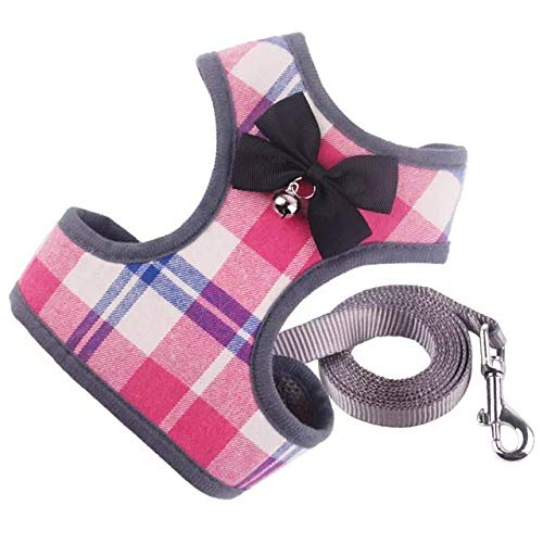 N.A Harness Vest Set Easy to Put On & Take Off Dog Harness, Puppy Padded Mesh Front Vest with Leash, Adjustable Pets No-Pull Walking Harness with Cute Bows for Small Dogs and Cats (Small, Pink)