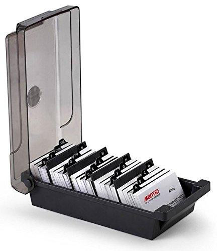 Porta carte da visita professionale da scrivania per 500 carte, con divisori e linguette, nero Nero
