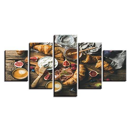 XXSCZ 5 Canvas foto's stilleven kunst modulaire canvas afbeelding 5 stuks levensmiddelen honing en brood schilderij frame decoratie woonkamer muur moderne prints 30 x 40 30 x 60 30 x 80 cm met frame.