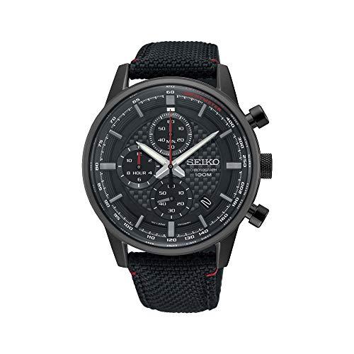 Seiko Chronograph Herren-Uhr mit Titankarbidauflage und Textilband SSB315P1