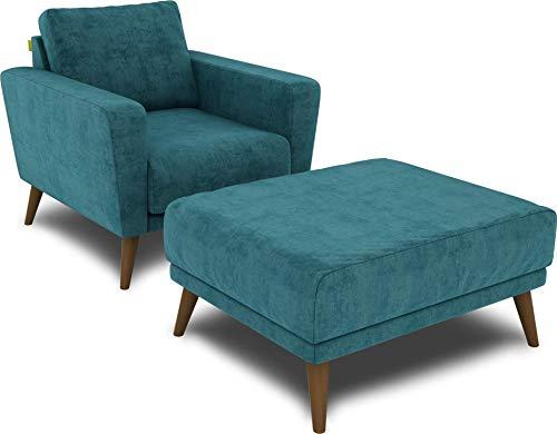KAUTSCH Lotta Hochwertiges Set Sessel inklusive Hocker in Petrol - Polsterstuhl mit Fußhocker - Armlehnen-Stuhl und Sitzhocker - Relax-Sessel gepolstert für Wohnzimmer