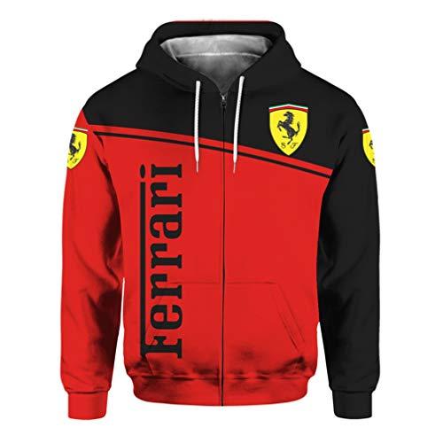 Cronell Story Unisex Frühjahr Und Herbst Langarm Oberbekleidung 3D Digitales Ferrari-Logo Gedruckt Reißverschluss Hoodie Lässig Sweatshirt (2,L)