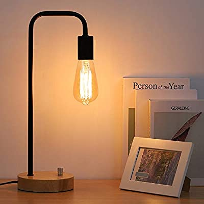 Edison Desk Lamp, Industrial Table Lamp, Wood Lamp for Nightstand, Bedside, Reading in Dorm Room, Bedroom, Office, Black