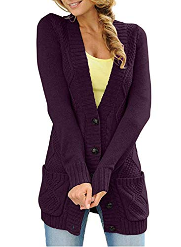 Happy Sailed Damen Langarm Strickjacke Cardigan Strickcardigan mit Knopf S-XXL
