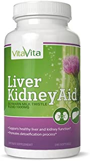 Liver Kidney Aid, All Natural Ingredients Supports Liver and Kidney Health, 90 Days Supply (180 Softgels)