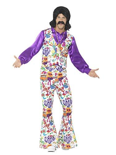 Smiffys Herren 60er Jahre Groovy Hippie Kostüm, Weste, Hemd und Schlaghose, Größe: XL, 44904