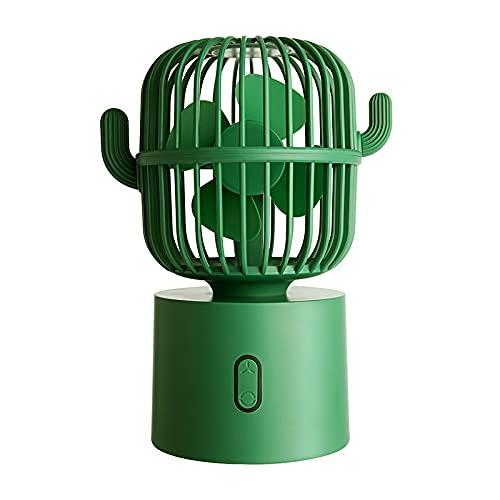JIEPPTO Forma De Cactus, Multifunción, Mini Ventilador De Oficina De La Oficina En Casa, Fuente De Alimentación USB, Operación Silenciosa, Refrigerador De Aire (Color : Green)