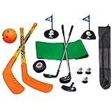 SOWOFA Juego de Palos de Hockey 3 en 1 de 21 Piezas y Juego de golfistas de Golf para niños y jóvenes con Bolsa