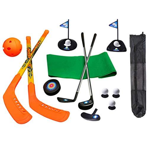 SOWOFA 3-in-1-Hockeyschläger Gras-EIS-Jugend-Sport-Set für Kinder Kinder & 17-teiliges Golf-Set Spielzeug Sponsored Puck & Ball