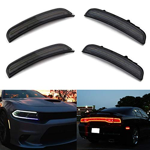 Amber Red LED Side Marker Light for Dodge Charger 2015 2016 2017 2018 2019 Smoke Lens Led Side Marker Lights Front & Rear Sit Car Led Side Marker Lamp Kit
