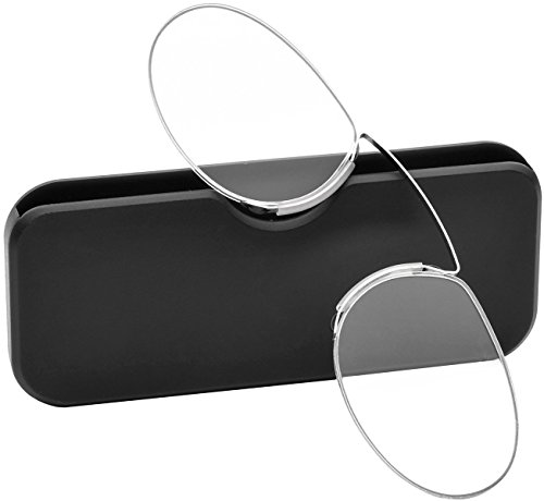 Pince Nez Style Clamp Nose Resting Pinching Reading Glasses (BLACK, 1.50)