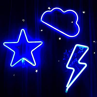 AIWEILUCK Blue Neon Light, 3Pack, Lightning, Cloud, Star, Decorative Led Neon Signs, Battery and USB Operated Neon Lights, Light up for The Home, Kids Room, Bedroom, Bar, Party, Christmas, Wedding