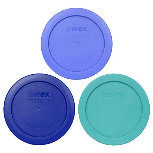 Pyrex 7200-PC 2 cup (1) Amparo Blue (1) Cadet Blue and (1) Turquoise Round Plastic Food Storage lids