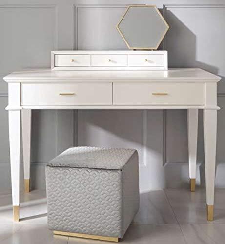 Casa Padrino tocador neoclásico de Lujo con 5 cajones Blanco/Oro 120 x 50 x A. 81 cm - Muebles Art Deco