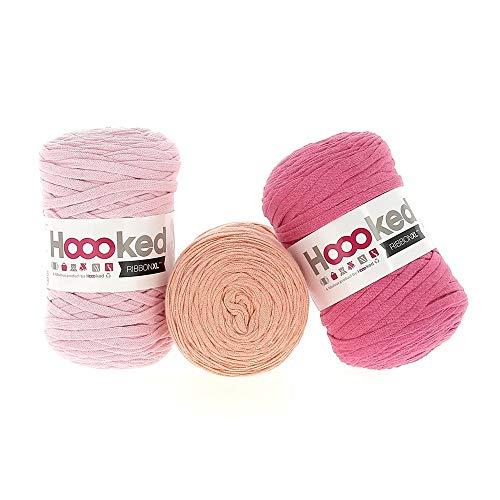 Hoooked Ribbon XL Set risparmio gigante da 120 metri, filato in tessuto riciclato da vestiti in splendidi colori, cotone, Think Pink, 360 Meter