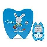EEGR Caja de Dientes de bebé Caja de Recuerdo de Dientes Caja de preservación de Dientes de Leche Niños Dientes de Leche Lanugo Cajas de Almacenamiento de Memoria Organizador,Azul