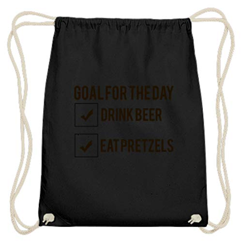Desconocido Goal For The Day – Drink Beer – Eat Pretzels Oktoberfest 2018 Múnich – Fiesta de algodón, color Negro, talla 37cm-46cm