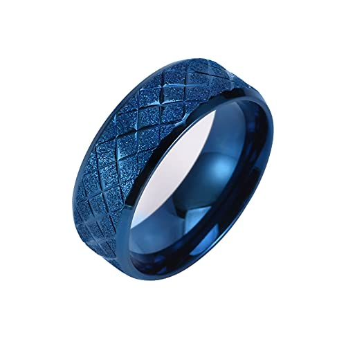 UEJGEKS Anillos para mujer Vintage Jewelry Gift Gold Silver Man Rings Frosted Lovers Ring (Azul, Talla 10)