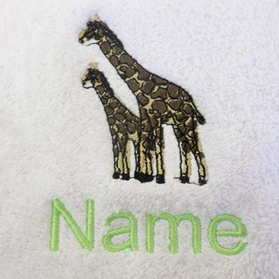 Bademantel für Erwachsene mit einem Giraffen Logo und Namen Ihrer Wahl in weiß, Größe M, L, XL oder XXL, 100 % Terry-Baumwolle, weiß, Large